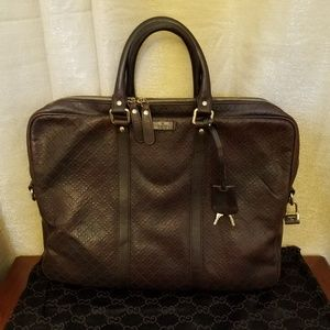 Gucci Hilary Diamante Briefcase Leather Laptop Bag